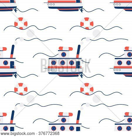 Lifeboat Seamless Pattern On White Background With Blue And Orange Colors. Waves, Motorboat And Life