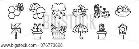 Set Of 12 Thin Outline Icons Such As Bird House, Umbrella, Plant, Bike, Rainy, Mushroom For Web, Mob