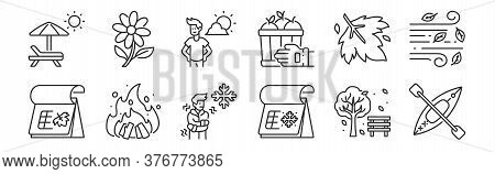 Set Of 12 Thin Outline Icons Such As Kayak, Winter, Bonfire, Maple Leaf, Holidays, Flower For Web, M