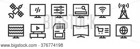 Set Of 12 Thin Outline Icons Such As World, Curve, Tv, Smart Tv, Adjustment, Tv For Web, Mobile