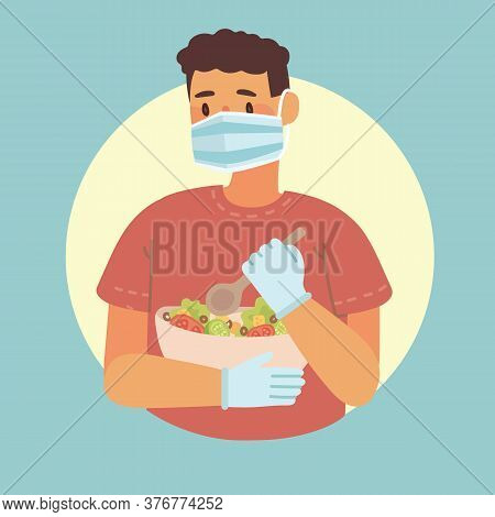 Young Boy Cooking In Kitchen At Home. Cooking Pizza, Chicken And Salad With Ingredients. Vector Mode