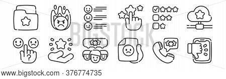 Set Of 12 Thin Outline Icons Such As Dislike, Bad Review, Rating, Review, Review, Angry For Web, Mob