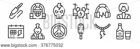 Set Of 12 Thin Outline Icons Such As Whiskey, Microphone, Punk, Headphones, Skull, Jukebox For Web,