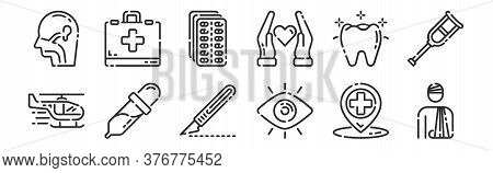Set Of 12 Thin Outline Icons Such As Injury, Eye, Dropper, Tooth, Pills, First Aid Kit For Web, Mobi