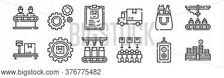 Set Of 12 Thin Outline Icons Such As Money, Consumer, Package, Product, Clipboard, Settings For Web,