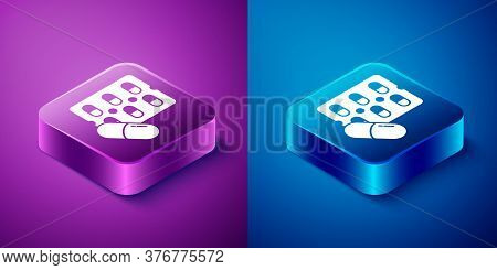 Isometric Pills In Blister Pack Icon Isolated On Blue And Purple Background. Medical Drug Package Fo