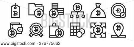 Set Of 12 Thin Outline Icons Such As Bitcoin, Calculator, Reward, Money Bag, Bitcoin, Bitcoin For We