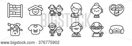 Set Of 12 Thin Outline Icons Such As Sofa, Father, Baby, Grandmother, Grandparents, Home For Web, Mo
