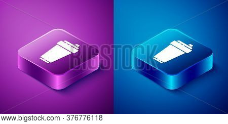 Isometric Fitness Shaker Icon Isolated On Blue And Purple Background. Sports Shaker Bottle With Lid