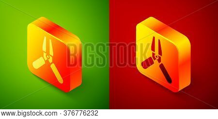 Isometric Car Battery Jumper Power Cable Icon Isolated On Green And Red Background. Square Button. V
