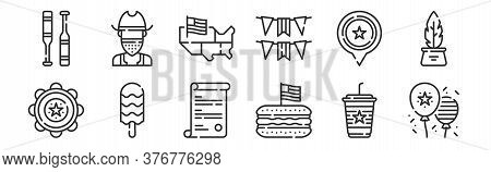 Set Of 12 Thin Outline Icons Such As Th Of July, Hotdog, Popsicle, Usa, Usa, Cowboy For Web, Mobile
