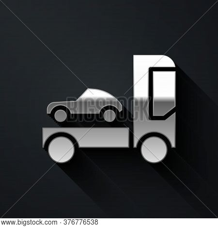 Silver Car Transporter Truck For Transportation Of Car Icon Isolated On Black Background. Long Shado