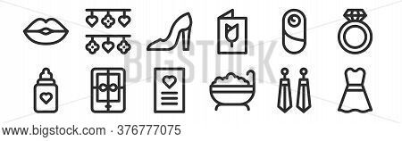 Set Of 12 Thin Outline Icons Such As Dress, Bath, Ebook, Baby, Shoes, Decoration For Web, Mobile