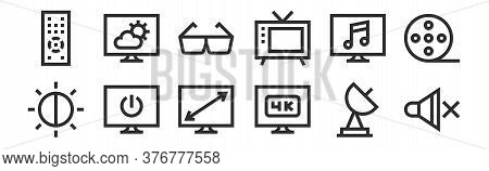 Set Of 12 Thin Outline Icons Such As Mute, K, Power, Music, D Glasses, Weather Forecast For Web, Mob
