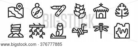 Set Of 12 Thin Outline Icons Such As Cave, Snake, Vines, Hut, Swiss Army Knife, Compass For Web, Mob