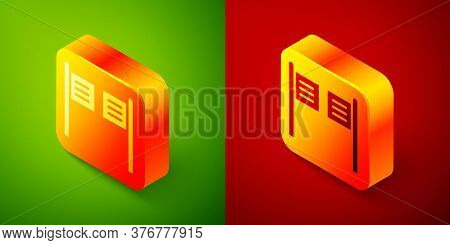 Isometric Old Western Swinging Saloon Door Icon Isolated On Green And Red Background. Square Button.