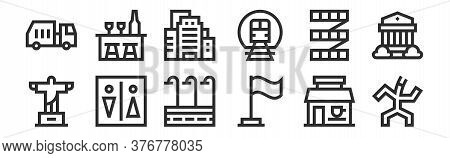 Set Of 12 Thin Outline Icons Such As Puppet, Flag, Wc, Stairs, Building, Bar For Web, Mobile