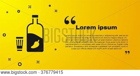Black Vodka With Pepper And Glass Icon Isolated On Yellow Background. Ukrainian National Alcohol. Ve