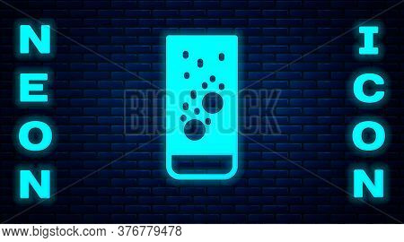 Glowing Neon Effervescent Aspirin Tablets Dissolve In A Glass Of Water Icon Isolated On Brick Wall B