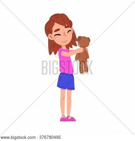 Cute Girl Holding Teddy Bear, Adorable Kid Playing With Her Favorite Toy Cartoon Vector Illustration