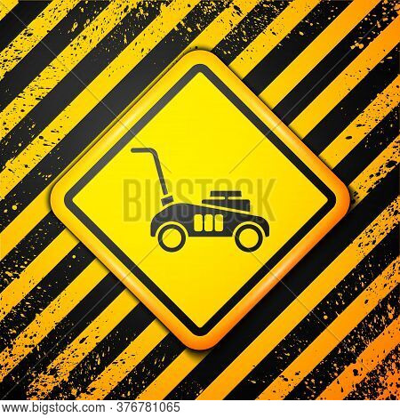Black Lawn Mower Icon Isolated On Yellow Background. Lawn Mower Cutting Grass. Warning Sign. Vector