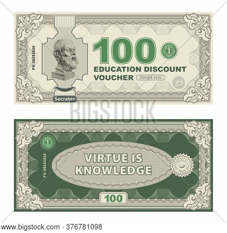 Vector Money Banknotes Illustration With Portrait Of Philosopher Socrates By Sculptor Lisippo. Class
