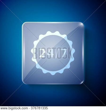 White Clock 24 Hours Icon Isolated On Blue Background. All Day Cyclic Icon. 24 Hours Service Symbol.