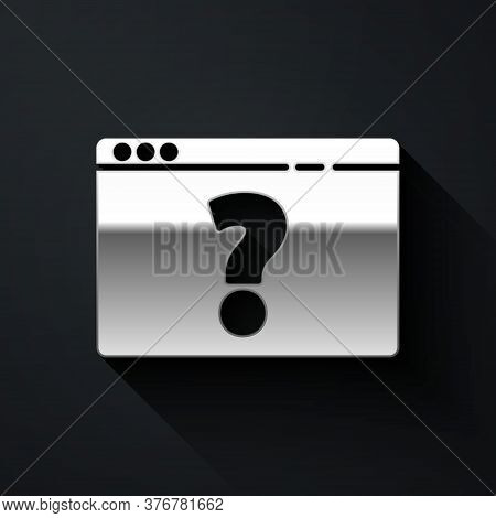 Silver Browser With Question Mark Icon Isolated On Black Background. Internet Communication Protocol
