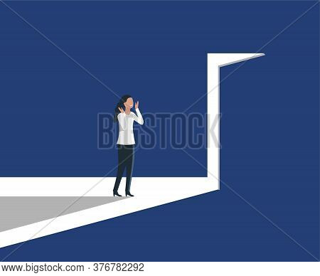 Woman Opening Door With Bright Light Inside  - Concept Of Career, Opportunity, Business Challenge -