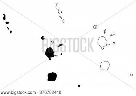 Torba Province (republic Of Vanuatu, Archipelago) Map Vector Illustration, Scribble Sketch Banks And