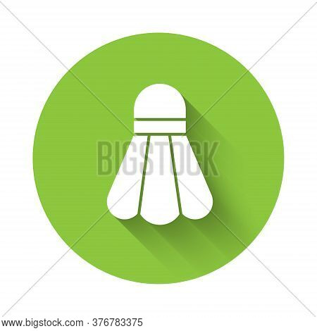 White Badminton Shuttlecock Icon Isolated With Long Shadow. Sport Equipment. Green Circle Button. Ve