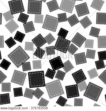 Black Sewing Pattern Icon Isolated Seamless Pattern On White Background. Markings For Sewing. Vector