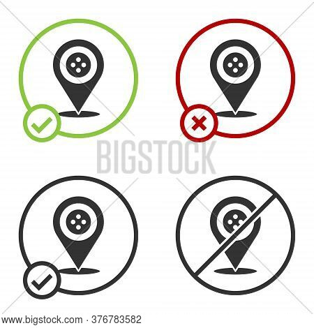 Black Location Tailor Shop Icon Isolated On White Background. Circle Button. Vector Illustration