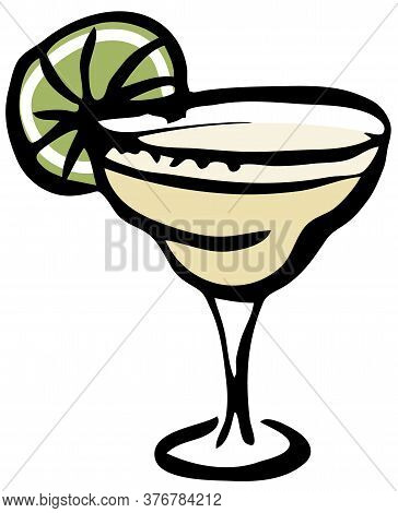 Stylish Hand-drawn Ink Style Cool Fresh Margarita Cocktail Garnished With Lime In A Classic Glass Ve