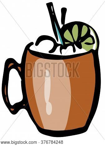 Stylish Hand-drawn Ink Style Cool Fresh Moscow Mule Cocktail Garnished Slice Of Lime In A Classic Co