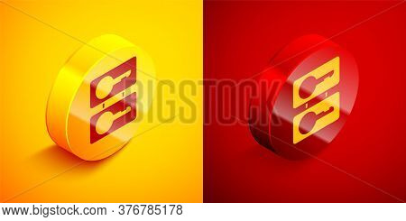 Isometric Metal Mold Plates For Casting Keys Icon Isolated On Orange And Red Background. Set For Mas