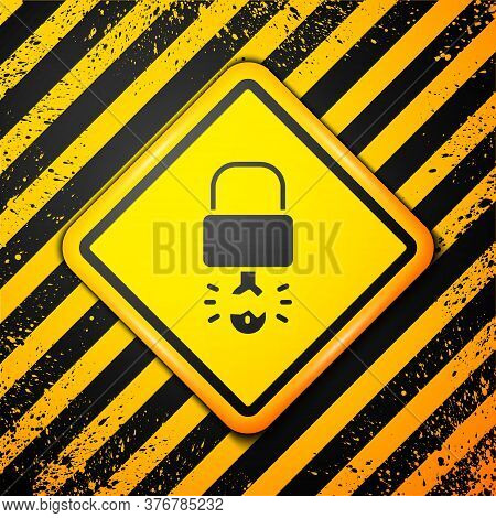 Black Key Broke Inside Of Padlock Icon Isolated On Yellow Background. Padlock Sign. Security, Safety