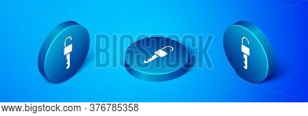 Isometric Unlocked Key Icon Isolated On Blue Background. Blue Circle Button. Vector Illustration