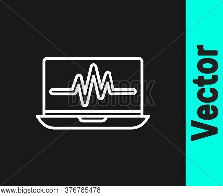 White Line Laptop With Cardiogram Icon Isolated On Black Background. Monitoring Icon. Ecg Monitor Wi