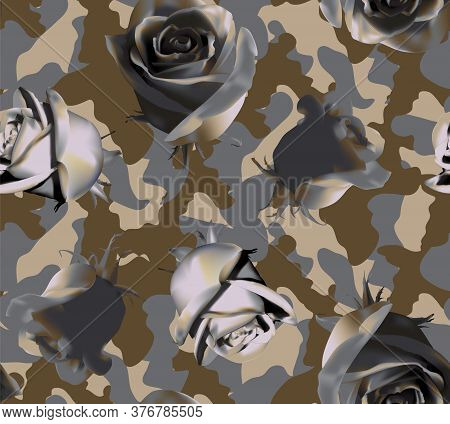 Fashionable Camouflage Brown And Grey Pattern With Grey Roses