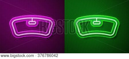 Glowing Neon Line Windshield Icon Isolated On Purple And Green Background. Vector Illustration