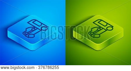 Isometric Line Car Transporter Truck For Transportation Of Car Icon Isolated On Blue And Green Backg