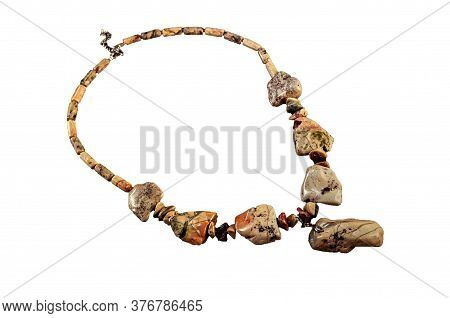Necklace Made Of Ural Jasper Isolated On White Background