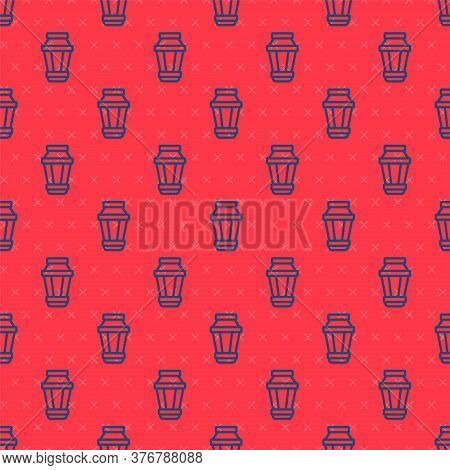 Blue Line Garden Light Lamp Icon Isolated Seamless Pattern On Red Background. Solar Powered Lamp. La