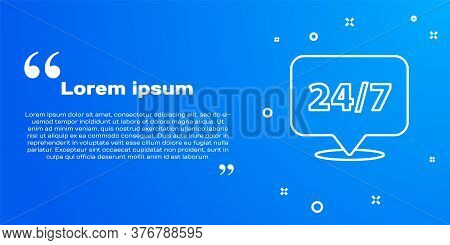 White Line Clock 24 Hours Icon Isolated On Blue Background. All Day Cyclic Icon. 24 Hours Service Sy