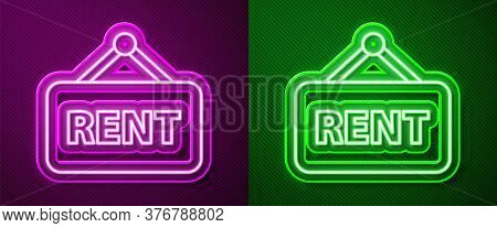 Glowing Neon Line Hanging Sign With Text Rent Icon Isolated On Purple And Green Background. Signboar