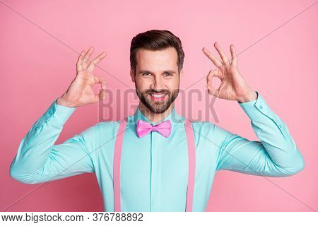 Photo Of Handsome Macho Guy Man Cool Trend Clothes Toothy Beaming Smile Showing Okey Symbols Wear Te