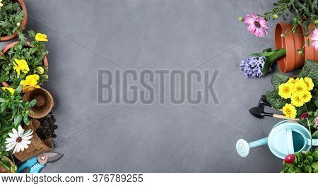 Flat Lay Composition With Gardening Tools On Grey Background. Space For Text