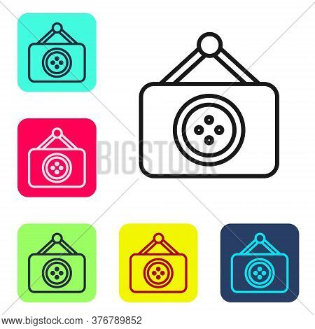Black Line Tailor Shop Icon Isolated On White Background. Set Icons In Color Square Buttons. Vector