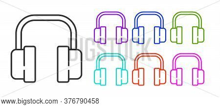 Black Line Headphones Icon Isolated On White Background. Support Customer Service, Hotline, Call Cen